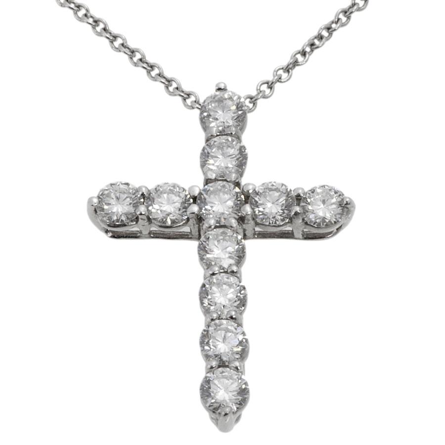 049cdcac8 Tiffany & Co. 950 Platinum & Diamond Medium Cross Pendant - modaselle