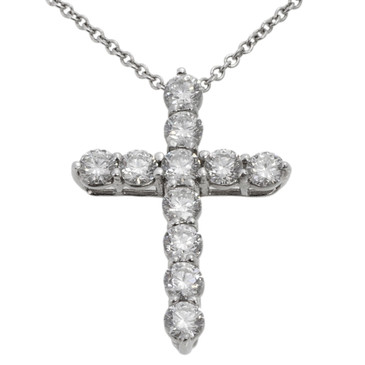 Tiffany & Co. 950 Platinum & Diamond Medium Cross Pendant