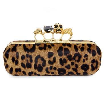 Alexander McQueen Leopard Print Ponyhair Long Knuckle Box