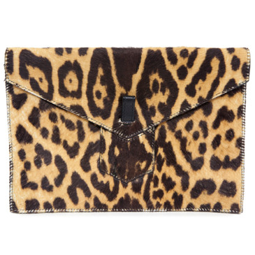 YSL Yves Saint Laurent Leopard Print Pony Hair Envelope Clutch
