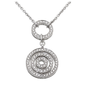 Bvlgari Bulgari Cerchi Astrale 18K White Gold Pave Diamond Necklace