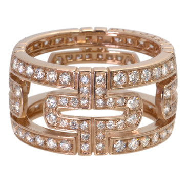 Bvlgari Bulgari Parentesi 18k Rose Gold Pave Diamond Ring