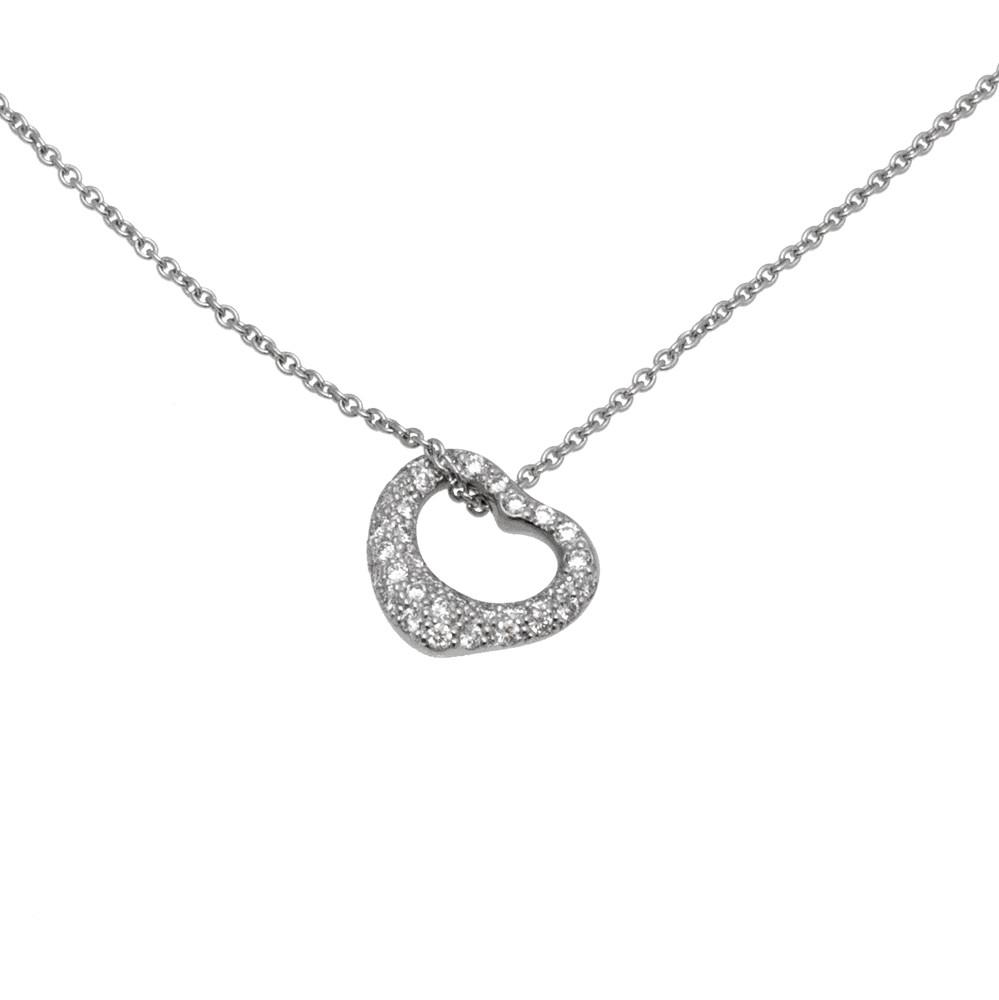 2b16f4c0b76b5 Tiffany & Co. Elsa Peretti Platinum & Diamond Small Open Heart Pendant