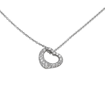 Tiffany & Co. Elsa Peretti Platinum & Diamond Small Open Heart Pendant