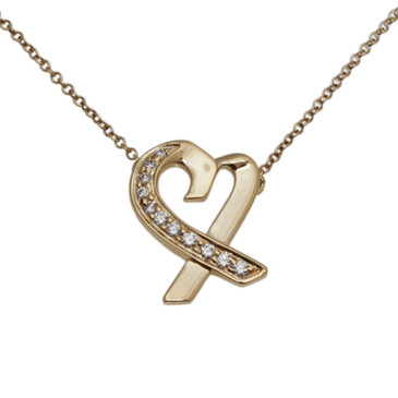 Tiffany & Co. Paloma Picasso 18k & Diamond Loving Heart Pendant