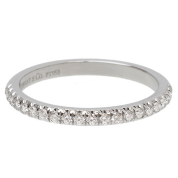 Tiffany & Co. Platinum & Diamond Etoile Narrow Band Ring