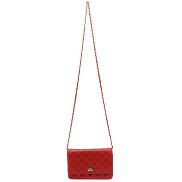 Chanel Red Lambskin Wallet on Chain WOC