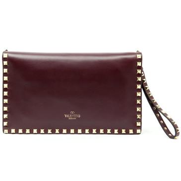 Valentino Garavani Burgundy Nappa Leather Rockstud Clutch