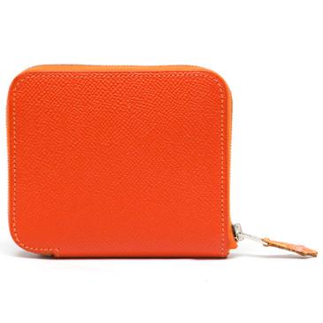 Hermes Orange Epsom Silk'in Compact Wallet