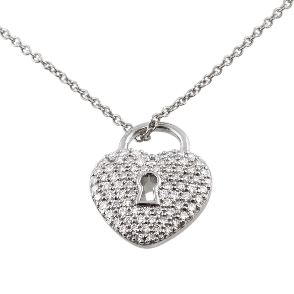 ed124f7eb Tiffany & Co. Platinum & Diamond Heart Lock Pendant - modaselle