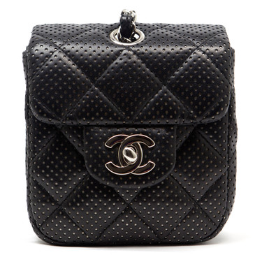 Chanel Perforated Black Lambskin Mini Flap