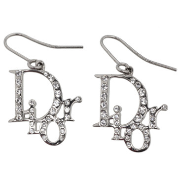 Christian Dior Crystal Logo Earrings