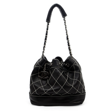 Chanel Black Lambskin Drawstring Bucket Bag