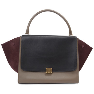 Celine Tri Color Smooth Leather & Suede Large Trapeze Bag