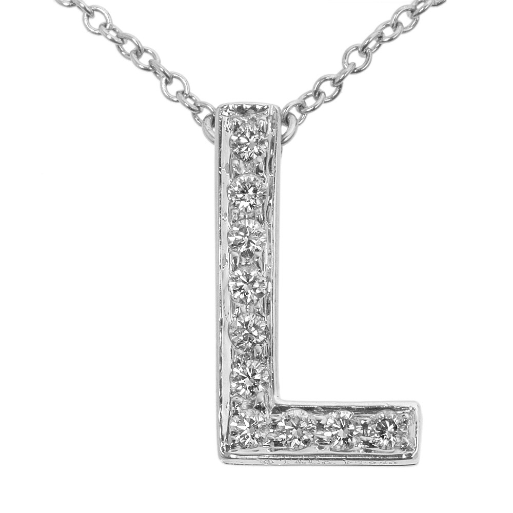 6dd5c6f6c Tiffany & Co. Platinum & Diamond 'L' Letters Pendant - modaselle