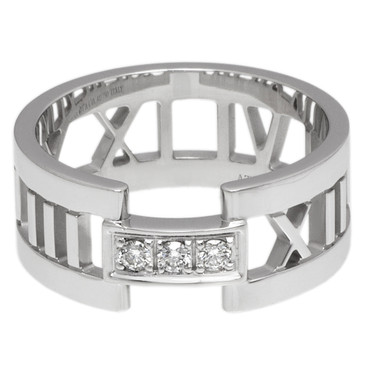 Tiffany & Co. 18K White Gold & Diamond  Atlas Open Ring