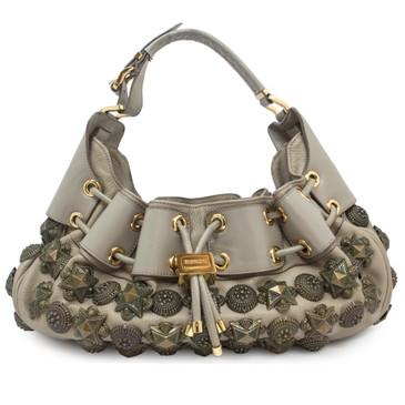 Burberry Grey Leather Mason Warrior Hobo Bag