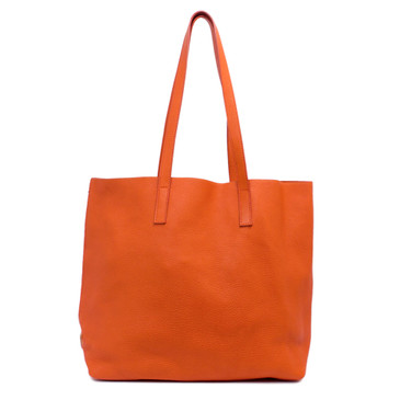 Prada Papaya Daino Leather Shopper Tote