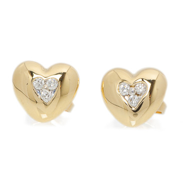 Tiffany & Co. 18K Gold & Diamond Heart Stud Earrings
