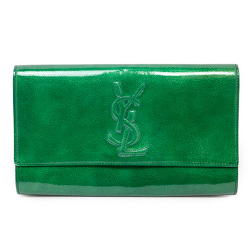 YSL Saint Laurent Green Patent Large Belle de Jour Clutch