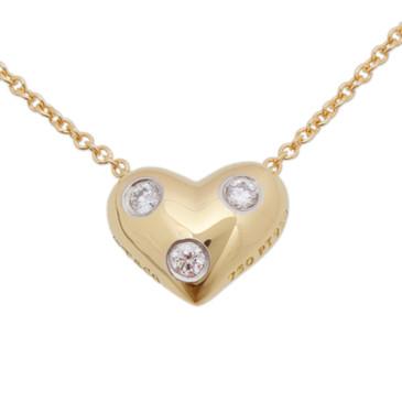 Tiffany & Co. 18K Gold & Diamond Etoile Heart Pendant