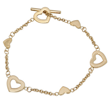 Tiffany & Co. 18K Yellow Gold Heart Link Toggle Bracelet