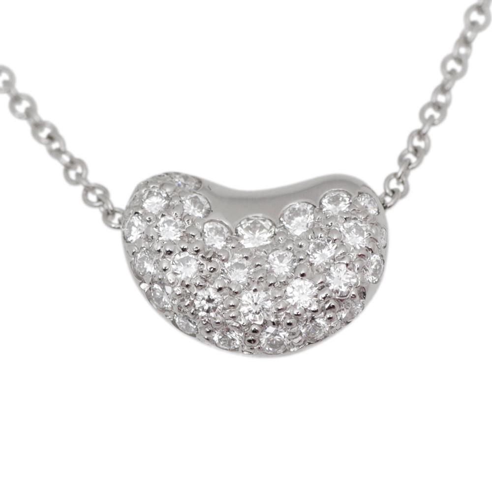 a2c5428f09616 Tiffany   Co. Elsa Peretti Platinum   Diamond Bean Pendant - modaselle
