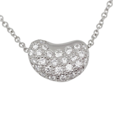 Tiffany & Co. Elsa Peretti Platinum & Diamond Bean  Pendant