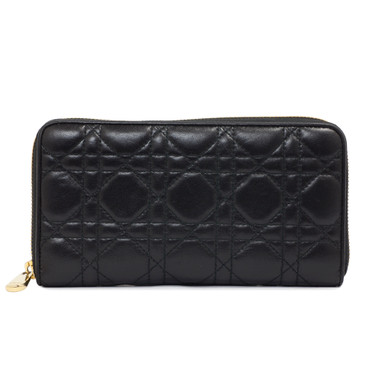 Dior Lady Dior Black Lambskin Zip Around Wallet