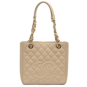 Chanel Beige Caviar Petite Shopping Tote PST