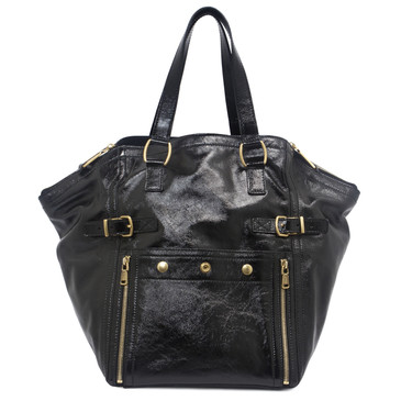 YSL Yves Saint Laurent Black Patent Downtown Tote