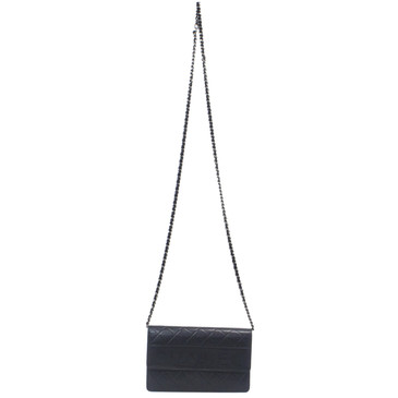 Chanel Black Embossed Lambskin LAX Wallet on Chain WOC