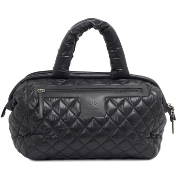 Chanel Black Nylon Coco Cocoon Travel Bowling Bag