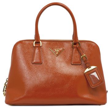 Prada Orange Saffiano Vernice Top Handle Tote
