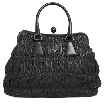 Prada Black Nappa Leather Gaufre Frame Tote