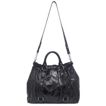 Miu Miu Black Vitello Gathered Tote