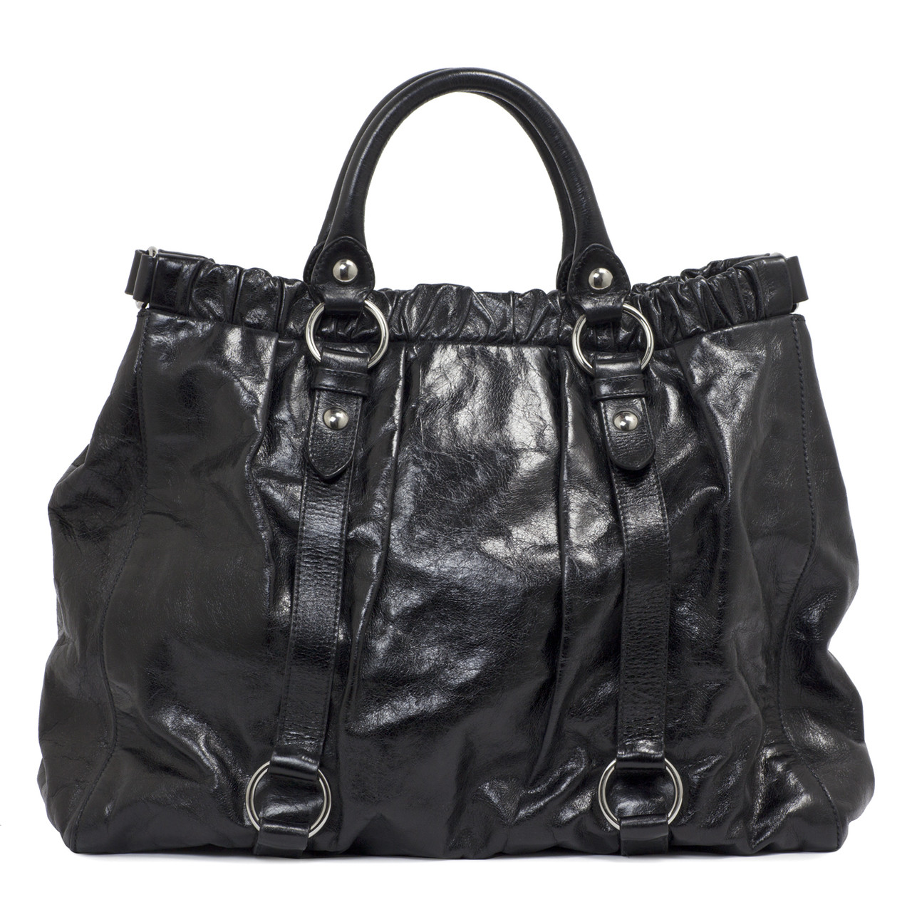 86ddcb412145 Miu Miu Black Vitello Gathered Tote - modaselle