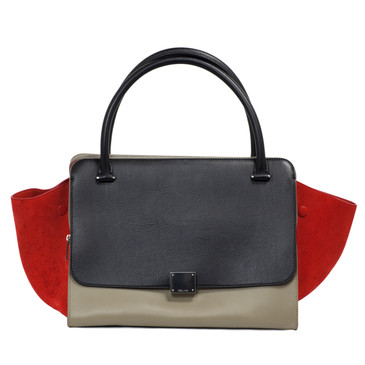 Celine Smooth Calfskin & Suede Tricolour Double Zip Trapeze Bag