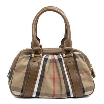 Burberry Pleated Check Cotton Canvas Bowling Bag