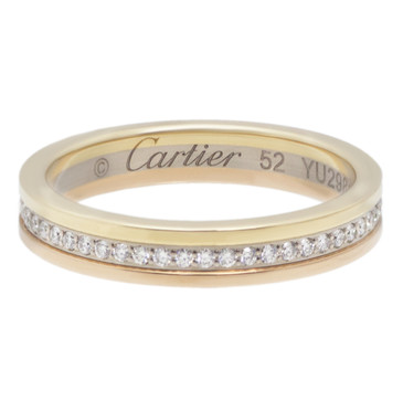 Cartier 18k Three Gold Diamond Wedding Band