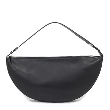 Salvatore Ferragamo Black Leather Half Moon Hobo Bag