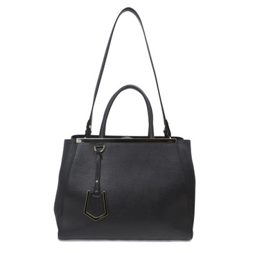 Fendi Black Elite Calfskin Medium 2Jours Tote