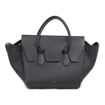 Celine Black Grained Leather Mini Tie Tote