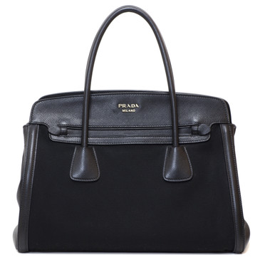 Prada Black Canvas & Saffiano Leather Top Handle Tote