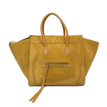 Celine Yellow Suede Medium Phantom Tote