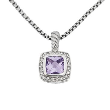 David Yurman Silver, Diamond & Amethyst Petite Albion Pendant