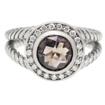 David Yurman Diamond & Smokey Quartz Petite Albion Ring