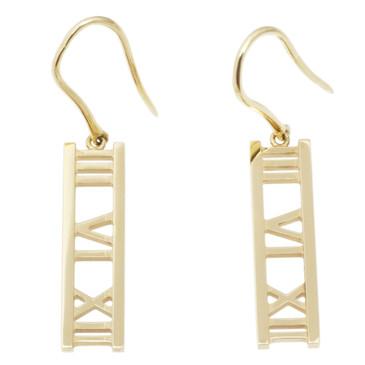 Tiffany & Co. 18K Open Atlas Bar Earrings