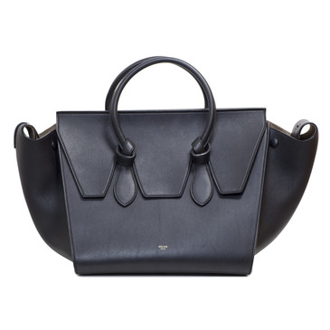 Celine Black Smooth Leather Small Tie Tote