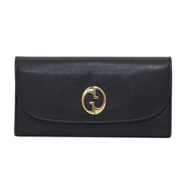 Gucci Black Leather Double G Continental Wallet